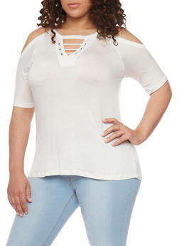 Plus Size Cold Shoulder Top with Lace Up Keyhole - 1912072897276