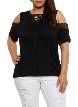 Plus Size Lace Up Cold Shoulder Top with Lace Trim - BLACK - 1912072897279