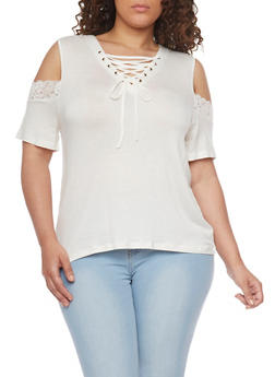 Plus Size Lace Up Cold Shoulder Top with Lace Trim - IVORY - 1912072897279