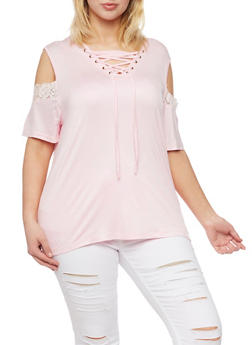 Plus Size Lace Up Cold Shoulder Top with Lace Trim - 1912072897279