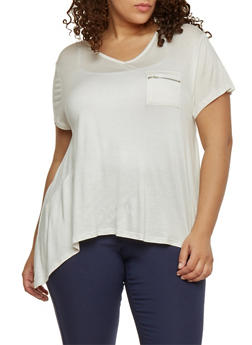 Plus Size Short Sleeve V Neck Sharkbite Top with Zip Pocket - IVORY - 1912072897845