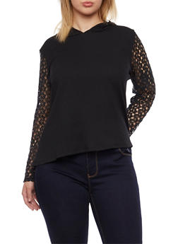 Plus Size Ribbed Hooded Top with Crochet Sleeves - 1912073130005