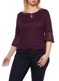 Plus Size Crochet Top with Lace Up Neckline - 1912073130023