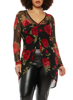 Plus Size Rose Print Mesh Top - 1912074015035
