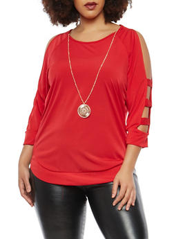 Plus Size Caged Sleeve Top with Necklace - 1912074015059