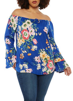 Plus Size Soft Knit Floral Off the Shoulder Top - 1912074015201