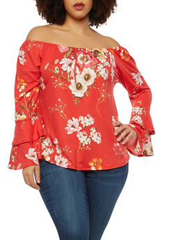 Plus Size Soft Knit Floral Off the Shoulder Top - 1912074015201