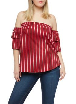 Plus Size Soft Knit Striped Off the Shoulder Top - 1912074015214