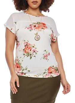 Plus Size Mesh Yoke Printed Top with Necklace - 1912074015215