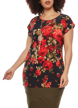 Plus Size Printed Tunic Top with Necklace - 1912074015216