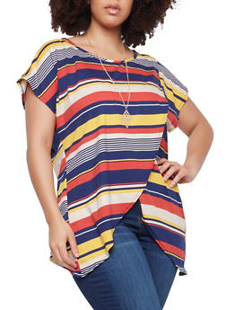 Plus Size Striped Asymmetrical Top with Necklace - 1912074015217