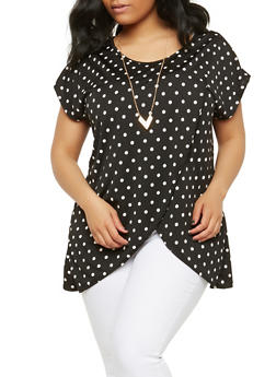 Plus Size Polka Dot Top with Necklace - 1912074015218