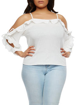 Plus Size Open Sleeve Off the Shoulder Top - 1912074280020