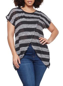 Plus Size Striped Asymmetrical Hem Top - BLK/CHAR - 1912074280036