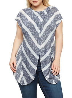 Plus Size Striped Asymmetrical Hem Top - NAVY-IVORY - 1912074280036
