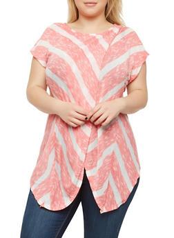 Plus Size Striped Asymmetrical Hem Top - BLUSH-IVORY - 1912074280036