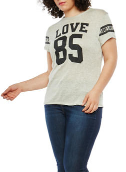 Plus Size Love Graphic Knit T Shirt - 1912074280044