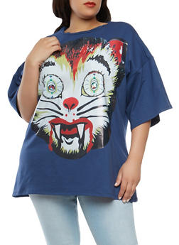 Plus Size Beaded Cat Graphic Tee - 1912074280050