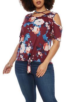 Plus Size Soft Knit Floral Cold Shoulder Top - 1912074280305