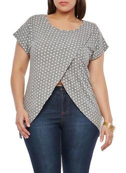 Plus Size Polka Dot Asymmetrical Top - 1912074280361
