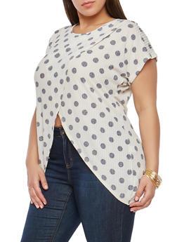 Plus Size Polka Dot Asymmetrical Top - 1912074280362
