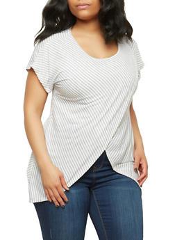 Plus Size Striped Asymmetrical Top - GRAY-WHITE - 1912074280363