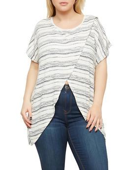Plus Size Striped Asymmetrical Top - 1912074280363