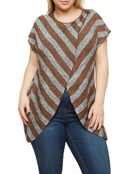 Plus Size Striped Asymmetrical Top - MOCHA-GREY - 1912074280363