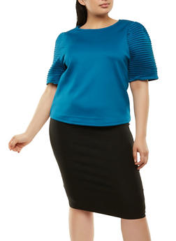 Plus Size Pleated Sleeve Scuba Top - 1912074280400