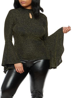 Plus Size Shimmer Knit Bell Sleeve Top - 1912074280405