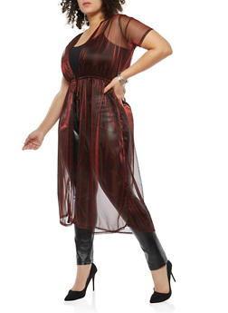 Plus Size Glitter Knit Short Sleeve Duster - 1912074280411