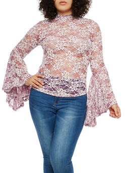 Plus Size Lace Bell Sleeve Top - 1912074280500