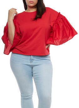 Plus Size Bell Sleeve Top - 1912074280600