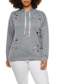 Plus Size Laser Cut Hooded Sweatshirt - 1912074280613