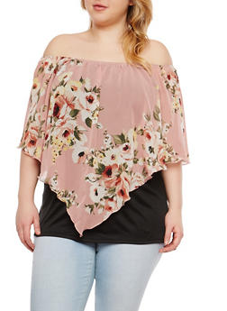 Plus Size Floral Off the Shoulder Top - 1912074280707