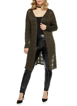 Plus Size Open Front Knit Duster - OLIVE - 1912074280800