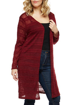 Plus Size Open Front Knit Duster - 1912074280800