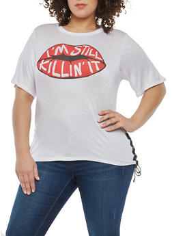 Plus Size Graphic Lace Up Side T Shirt - WHITE - 1912074280836
