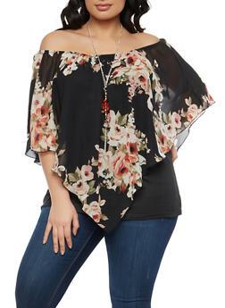 Plus Size Black Floral Off the Shoulder Top - 1912074281001