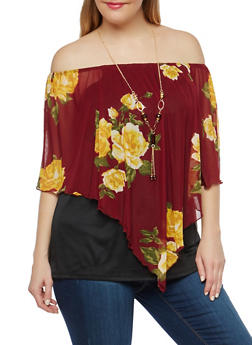 Plus Size Floral Mesh Overlay Top with Necklace - 1912074281003