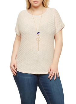 Plus Size Rib Knit Top with Necklace - 1912074281012