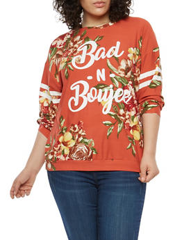 Plus Size Floral Graphic Top - 1912074281024