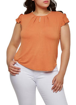 Plus Size Flutter Sleeve Top - 1912074281103