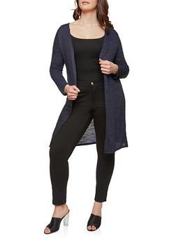Plus Size Long Knit Cardigan - BLUE - 1912074281154