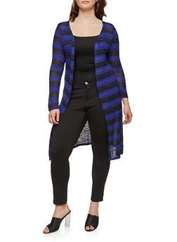 Plus Size Long Knit Cardigan - ROYAL - 1912074281154