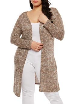 Plus Size Long Knit Cardigan - MOCHA - 1912074281154