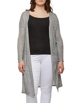 Plus Size Knit Long Cardigan - 1912074281190