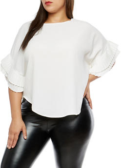 Plus Size Pleated Sleeve Top - 1912074281446