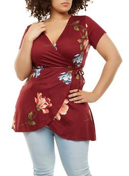 Plus Size Floral Faux Wrap Top - 1912074281713