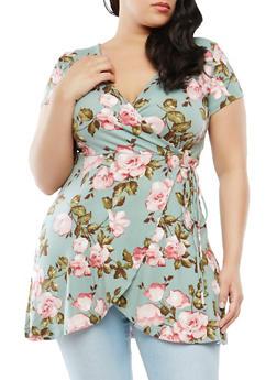 Plus Size Floral Faux Wrap Tunic Top - 1912074281813